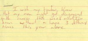 """""""Eu gostaria que minha professora soubesse que minha mãe talvez seja diagnosticada com câncer essa semana e eu fiquei sem lugar para morar 3 vezes diferentes só neste ano."""""""